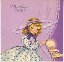 VINTAGE 1950S GIRL CHILD PURPLE POLKA DOT DRESS LACE HAT BIRTHDAY CARD ART PRINT