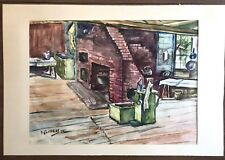 Omer Joachim Luneau 1945 Watercolor Painting Rev. Sawyer Kitchen Webster NH