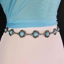 New Women Antique Silver Metal Fashion Belt Turquoise Blue Flowers Hip Waist S M
