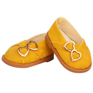 Mustard Double Heart Shoes Fits 18 Inch American Girl Dolls-Kennedy and Friends