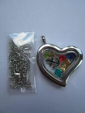 Living Memory Silver Heart Locket with 7 crystals and charm Usa