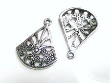 5 x 25mm Tibetan Silver Fan Charms / Pendants Jewellery Necklace R21
