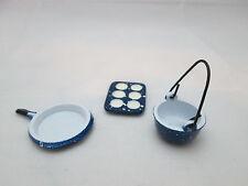 "1"" scale dollhouse mini Blue Spatterware Baking Set"