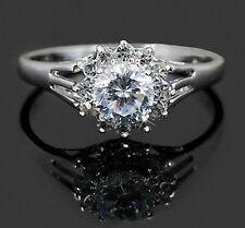 White Gold gp Round Cut lab Diamond Engagement Wedding Party Halo Ring Sz 8