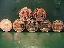 """Banknote Series"" 7 Copper Round Set 1 oz .999 Copper Rounds"