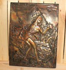 Vintage hand made nude wall hanging copper/brass plaque fishing girl