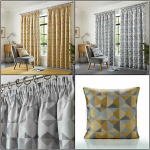 SKANDI Geometric Curtains Jacquard Weave Lined Pencil Pleat,Cushions Available.