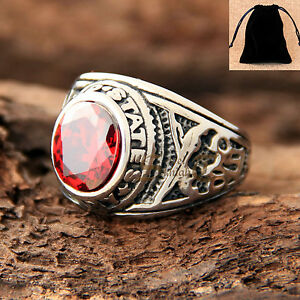 United States USA Navy USN Stainless Steel Veteran Ruby Red CZ Men Ring+Gift Bag
