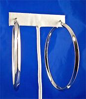"""LARG STAINLESS STEEL HOLLOW SQUARE TUBE EARRINGS, 2.50"""" DIAMETER"""