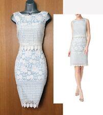 PRECIS Blue Ivory Abra Lace Overlay Evening Party Wedding Dress UK10  EU38  £139
