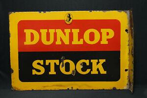 DUNLOP STOCK BATES DOUBLE SIDED OLD VINTAGE PORCELAIN ENAMEL SIGN WITH FLANGE