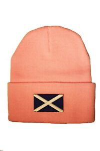 SCOTLAND St. ANDREW CROSS Flag PATCH BEANIE Hat..Colors: Black, Blue , Pink