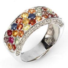 Ring Saphir Rubin & CZ 925 Silber 585 Weißgold Gr. 56
