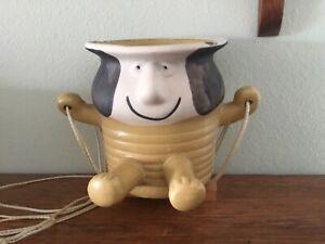 "Hanging Planter Person Figurine Mid Century Modern Art Pottery 24"" Long"