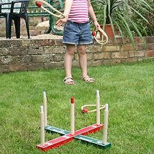 GARDEN OUTDOOR ROPE QUOITS   WOODEN PEGS THROWING GAME