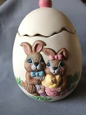 Finished Ceramic Egg Candy Dish with Bunnies - 6 Inches Tall - Great For Easter!