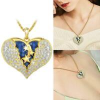 Frauen Herz Form Engel Flügel Halskette Anhänger Kette Geschenke Schmuck O3V4