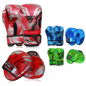 BOXING GLOVES AND PADS SET Focus Punching MMA Mitts Training Sparring Hook & Jab