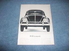 "1963 Volkswagen Bug Vintage Ad ""$1.02 a Pound"" VW"