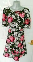 ❤ ANTHOLOGY Size 14 Black Pink Grey Floral Textured Stretchy Dress Back Zip
