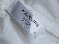 WOOLWORTHS SleevelessWhite100%CottonBohoTop Size10 as NEW