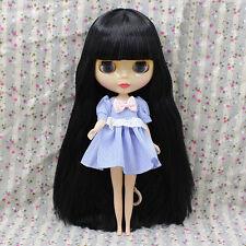 "Shiny Face 12"" Neo Blythe Takara 7 Joints Nude Doll & Black Long Wig(free eyes)"
