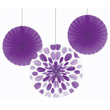 3 x Large Purple Paper Fans Hanging Decorations Lilac Purple Amethyst Party