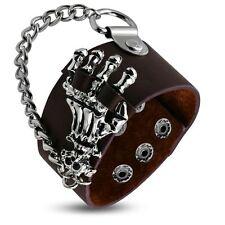 Brown Leather Skeleton Bone Hand Skull Chain Link Snap Wristband Bracelet