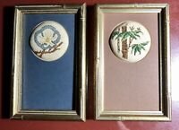 Vintage Small Floral Finished Framed Cross Stitch Needlework Bamboo Style Frames