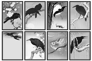 NIGHTWING - CROWS, BATS, OWLS, RAVENS  - 2 x A4 SHEETS OF CARD TOPPERS - 250GSM