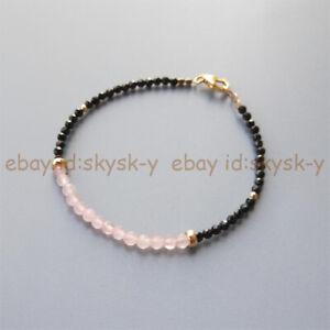 Faceted 3mm Black Spinel & 4mm Pink Jade Round Gemstone Beads Bracelet 7.5''