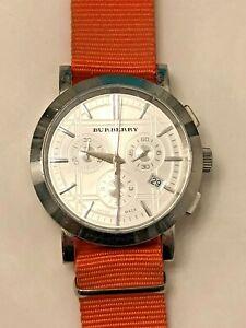 Burberry Men's BU1361 Silver Stainless Steel Watch w Orange NATO Strap
