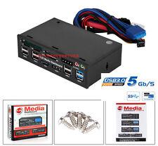 PANNELLO FRONTALE MULTIFUNZIONE USB 3.0 COMPUTER PC LETTORE SATA 5,25 CASE MEDIA