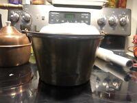 Antique H W Hayden's Ansonia Brass Co Bucket -  Rat Tail Handle - Patent 1851