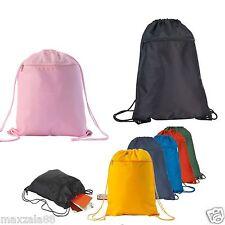 Drawstring Unisex Backpack Tote Sock Sack Pack Nylon Bag Dual Drawstrings