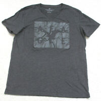 American Eagle Gray V-Neck T-Shirt Large Short Sleeve Cotton Polyester Man's Top