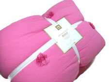 Pottery Barn Teen Pink Crinkle Pom Pom Puff Twin Quilt New