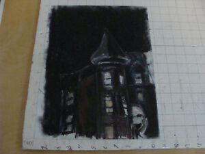 "Original Drawing -aprox 11 x 13"" - COOL OLD BUILDING in pastel"
