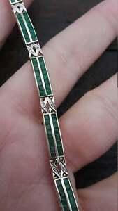 "5.5Ct Diamond Princess Cut Green Emerald Tennis 7"" Bracelet 14k Yellow Gold Fn"