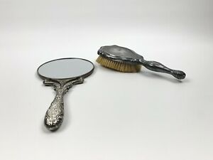 Vintage Godinger Silver Plated Hand Mirror Double Sided and  Brush Vanity Set