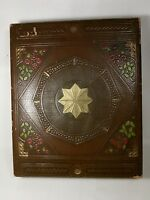 Vtg Leather look Stationary Trinket Stash box 8 Point Star Redemption Rebirth