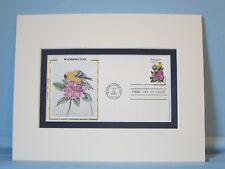 State Bird & Flower of Washington - Goldfinch & Rhododendron & First Day Cover
