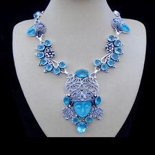 Howlith & Kristallquarz, blau, Gesicht, Halskette, Collier, Silber plattiert