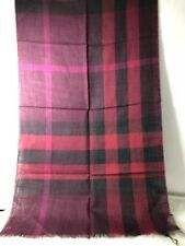 NWT Burberry Ladies Classic Plaid Scarf 51% Wool 49% Silk In Burgundy Multicolor