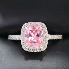 3 Ct Cushion Pink Sapphire Diamond Halo 925 Sterling Silver Ring Silver R628