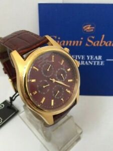 New Mens Stylish Gianni Sabatini Multi Dial Watch 100m W/Proof 5 Yr Guarantee