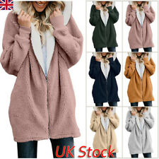 Plus Size Womens Winter Hooded Fleece Oversized Jacket Ladies Coats Cardigans UK