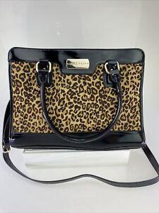 Cole Haan Carrington Satchel Cow Hair Patent Leather Leopard Black Handbag Purse