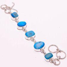 "Blue Agate Druzy Gemstone Handmade 925 Silver Plated Jewelry Bracelet 7-8"""