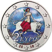 """Griechenland 2 Euro Münze """"Europa auf dem Stier"""" 2010 unzirkuliert in Farbe"""